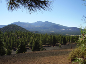 On top of Lenox Crater, photo of San Francisco Peaks, at Sunset Crater National Monument